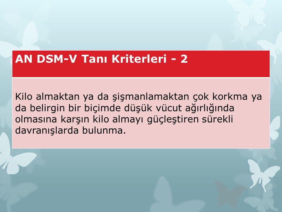 AN DSM-V Tanı Kriterleri - 2