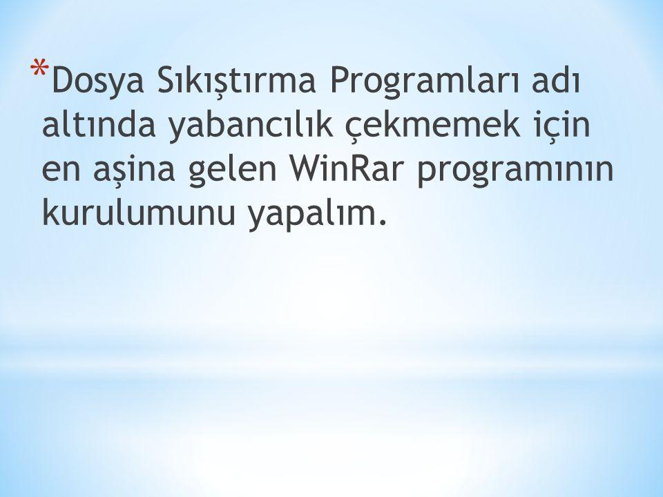 Dosya Sıkıştırma Programları adı altında yabancılık çekmemek için en aşina gelen WinRar programının kurulumunu yapalım.