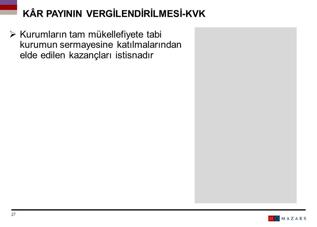 KÂR PAYININ VERGİLENDİRİLMESİ-KVK