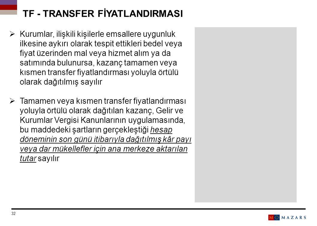TF - TRANSFER FİYATLANDIRMASI
