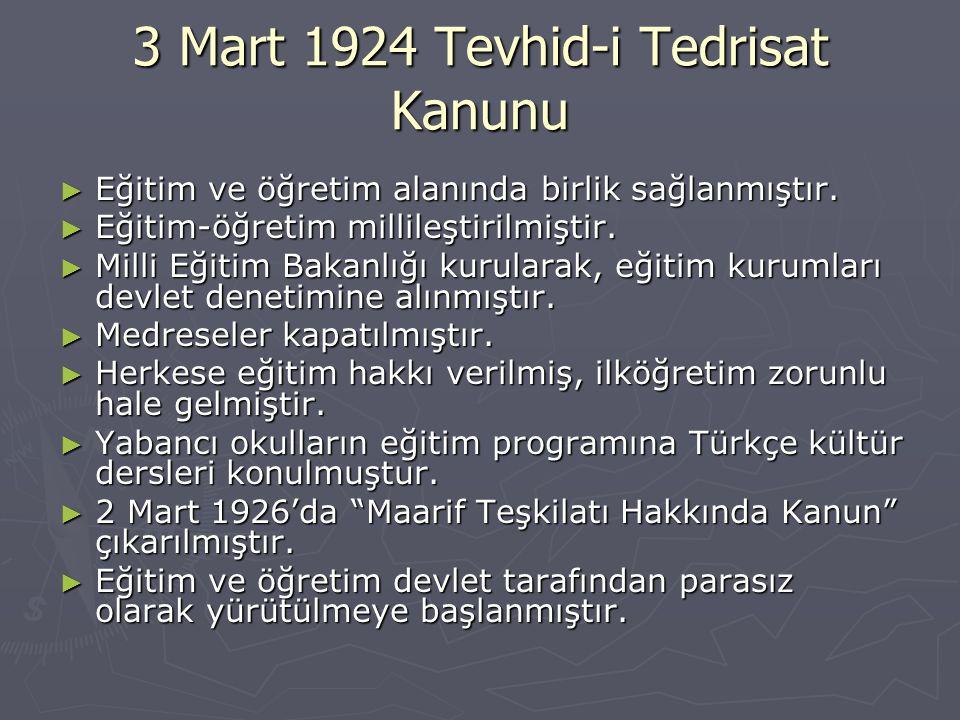 3 Mart 1924 Tevhid-i Tedrisat Kanunu