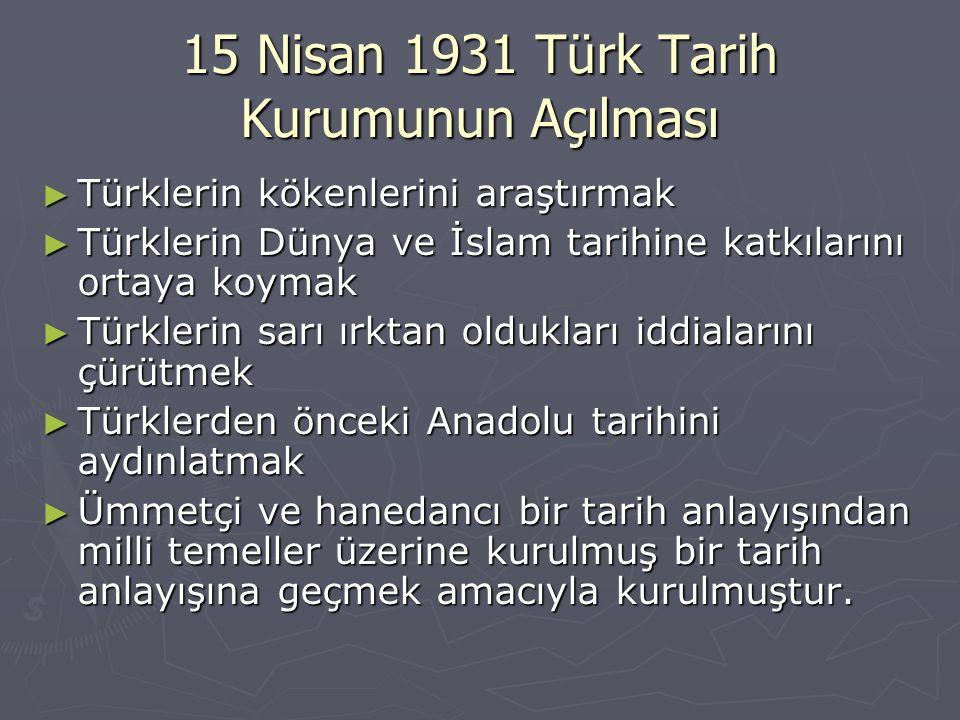 15 Nisan 1931 Türk Tarih Kurumunun Açılması
