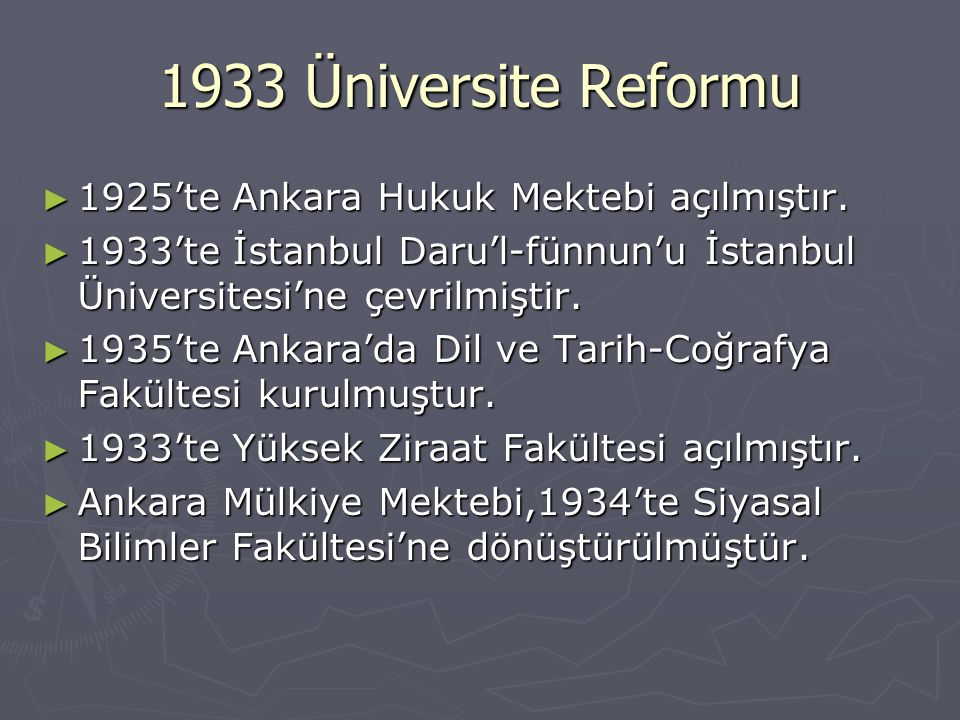 1933 Üniversite Reformu 1925'te Ankara Hukuk Mektebi açılmıştır.