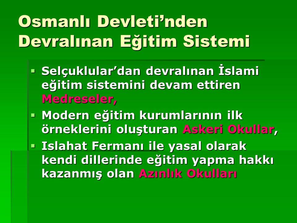 Osmanlı Devleti'nden Devralınan Eğitim Sistemi
