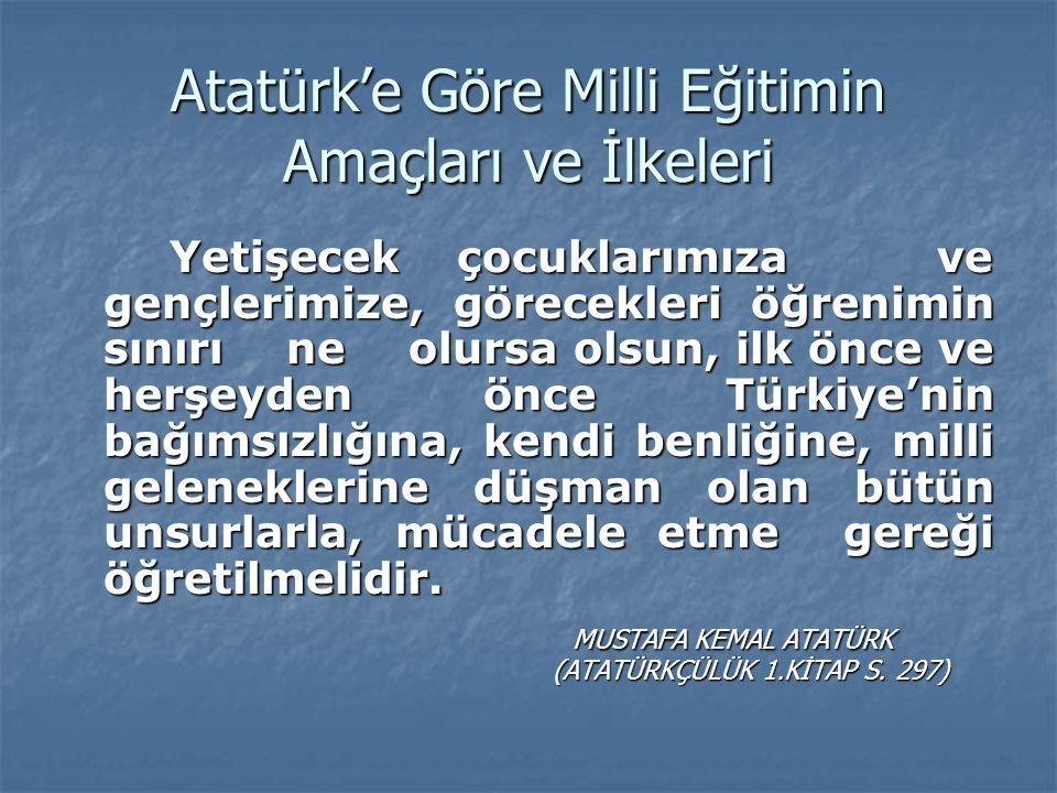 Atatürk'e Göre Milli Eğitimin Amaçları ve İlkeleri