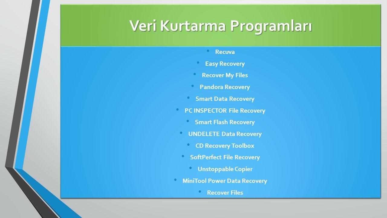 Veri Kurtarma Programları