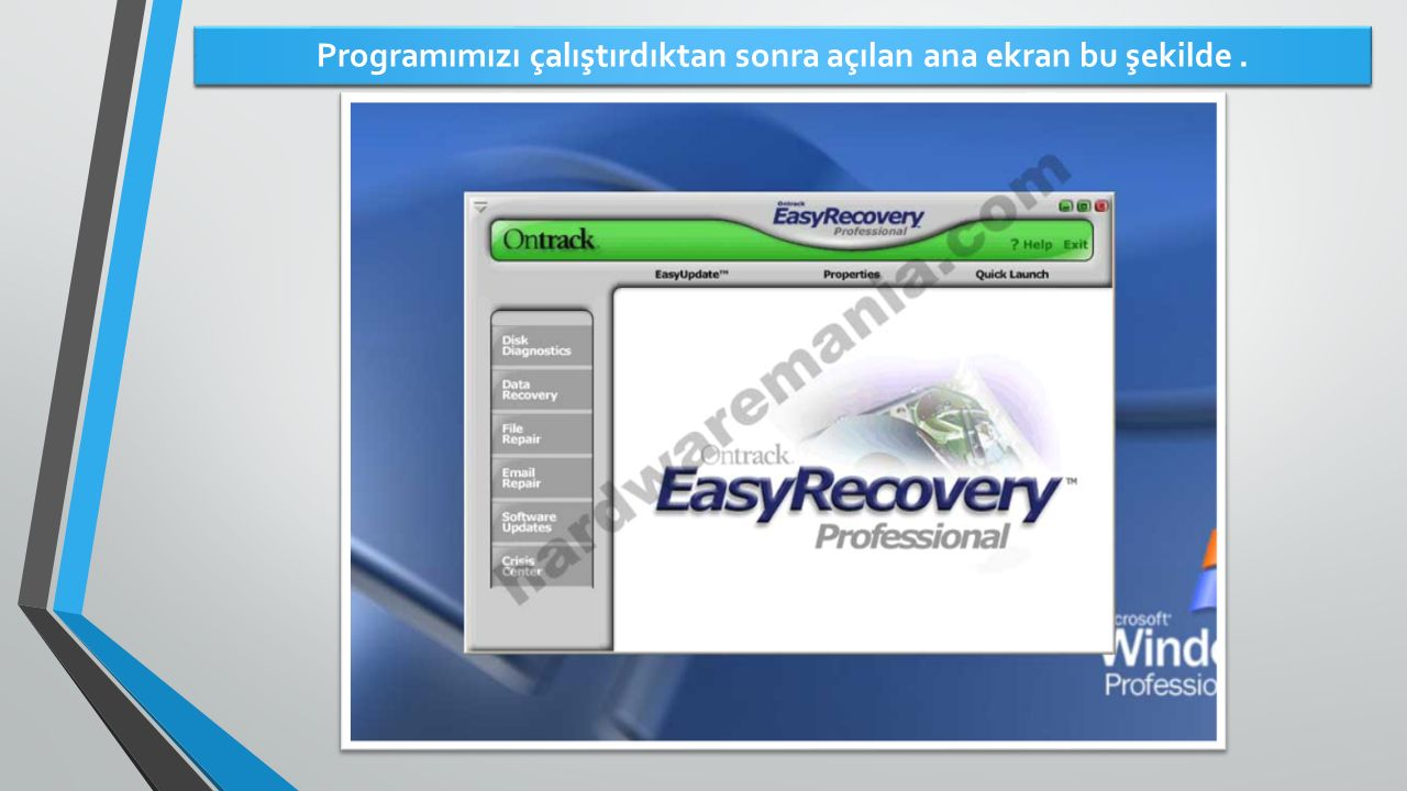 Programımızı çalıştırdıktan sonra açılan ana ekran bu şekilde .