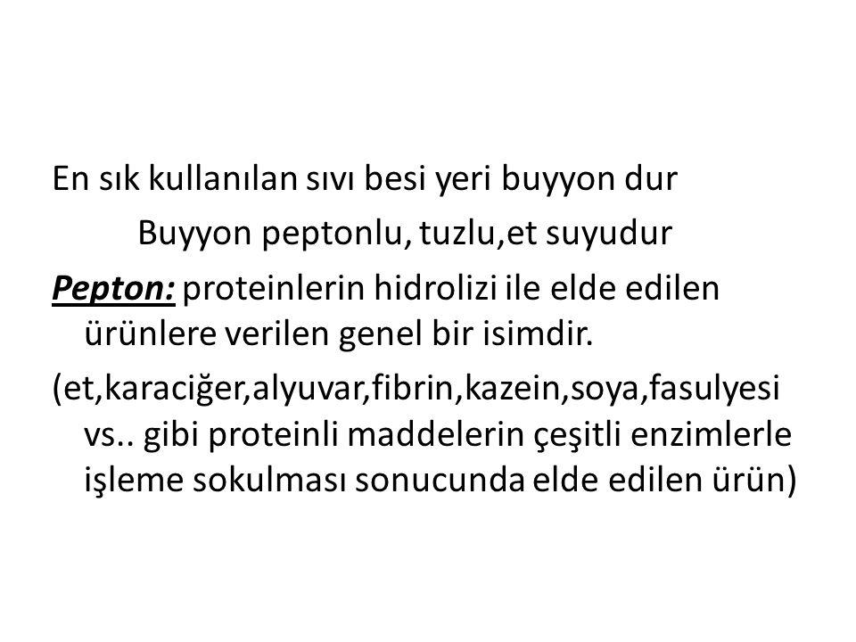 En sık kullanılan sıvı besi yeri buyyon dur Buyyon peptonlu, tuzlu,et suyudur Pepton: proteinlerin hidrolizi ile elde edilen ürünlere verilen genel bir isimdir.