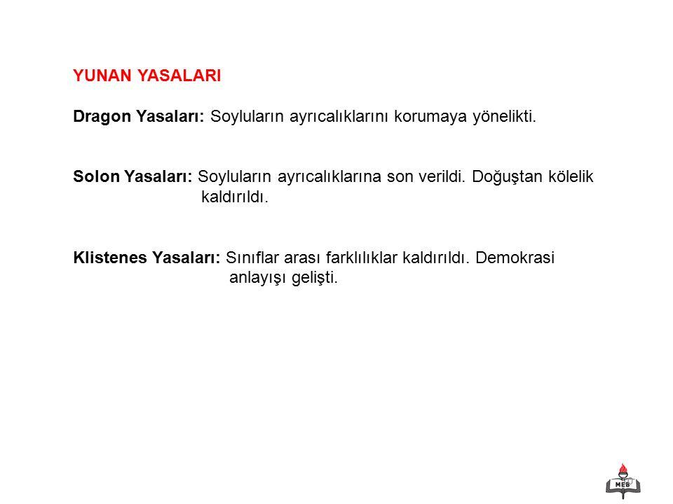 YUNAN YASALARI Dragon Yasaları: Soyluların ayrıcalıklarını korumaya yönelikti.
