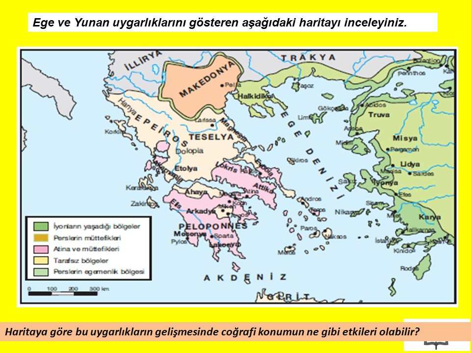 Ege ve Yunan uygarlıklarını gösteren aşağıdaki haritayı inceleyiniz.