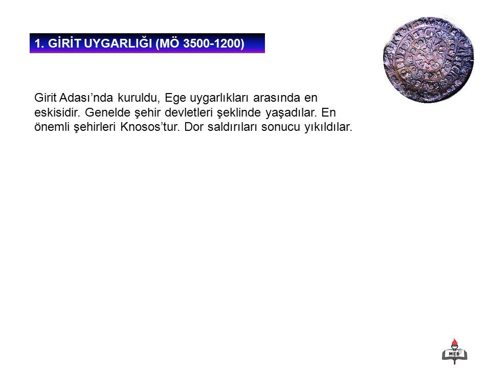 1. GİRİT UYGARLIĞI (MÖ 3500-1200)