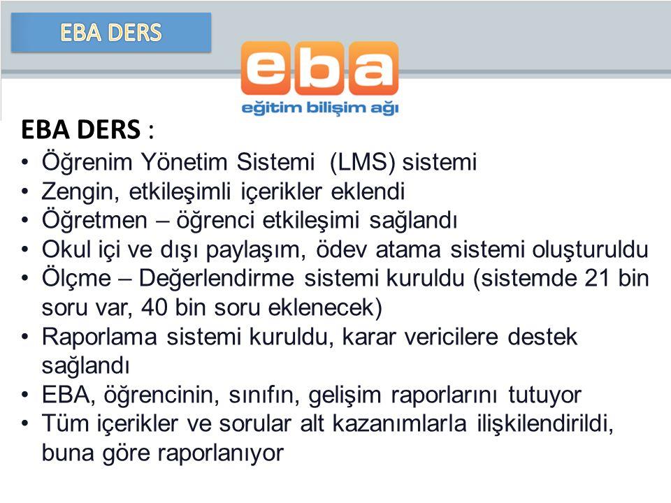 EBA DERS : EBA DERS Öğrenim Yönetim Sistemi (LMS) sistemi