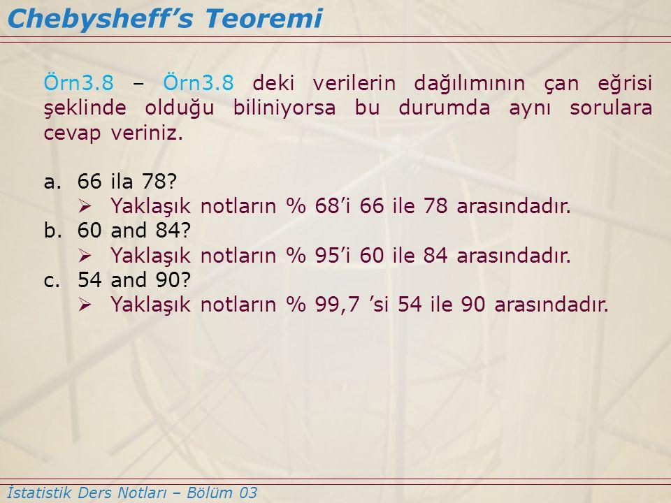 Chebysheff's Teoremi Örn3.8 – Örn3.8 deki verilerin dağılımının çan eğrisi şeklinde olduğu biliniyorsa bu durumda aynı sorulara cevap veriniz.
