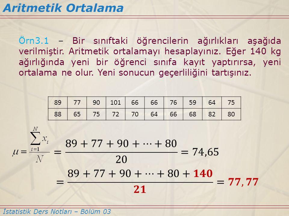 Aritmetik Ortalama = 89+77+90+…+80 20 =74,65