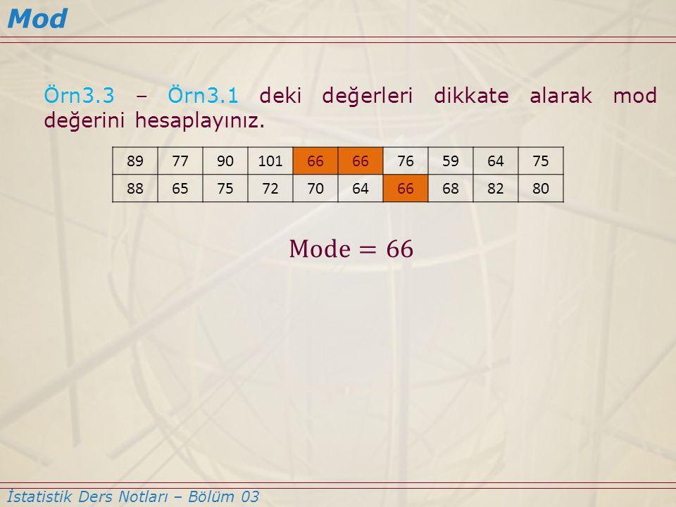 Mod Örn3.3 – Örn3.1 deki değerleri dikkate alarak mod değerini hesaplayınız. Mode=66. 89. 77. 90.