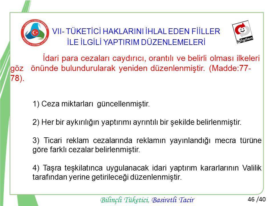 VII- TÜKETİCİ HAKLARINI İHLAL EDEN FİİLLER