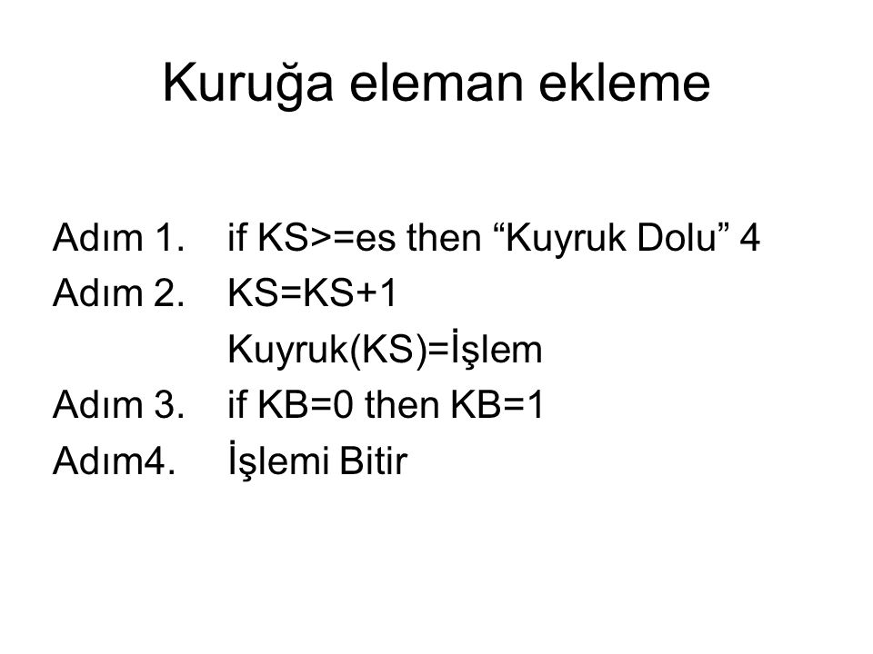 Kuruğa eleman ekleme Adım 1. if KS>=es then Kuyruk Dolu 4