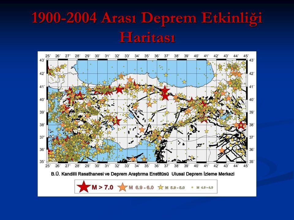 1900-2004 Arası Deprem Etkinliği Haritası