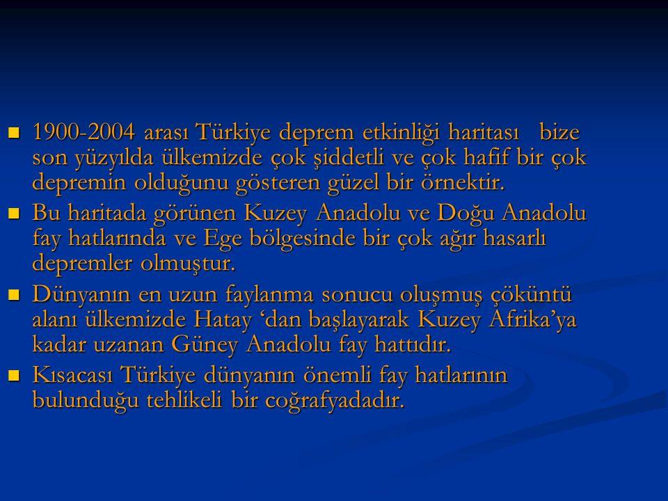1900-2004 arası Türkiye deprem etkinliği haritası bize son yüzyılda ülkemizde çok şiddetli ve çok hafif bir çok depremin olduğunu gösteren güzel bir örnektir.