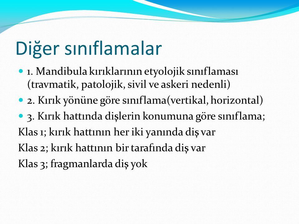 Diğer sınıflamalar 1. Mandibula kırıklarının etyolojik sınıflaması (travmatik, patolojik, sivil ve askeri nedenli)