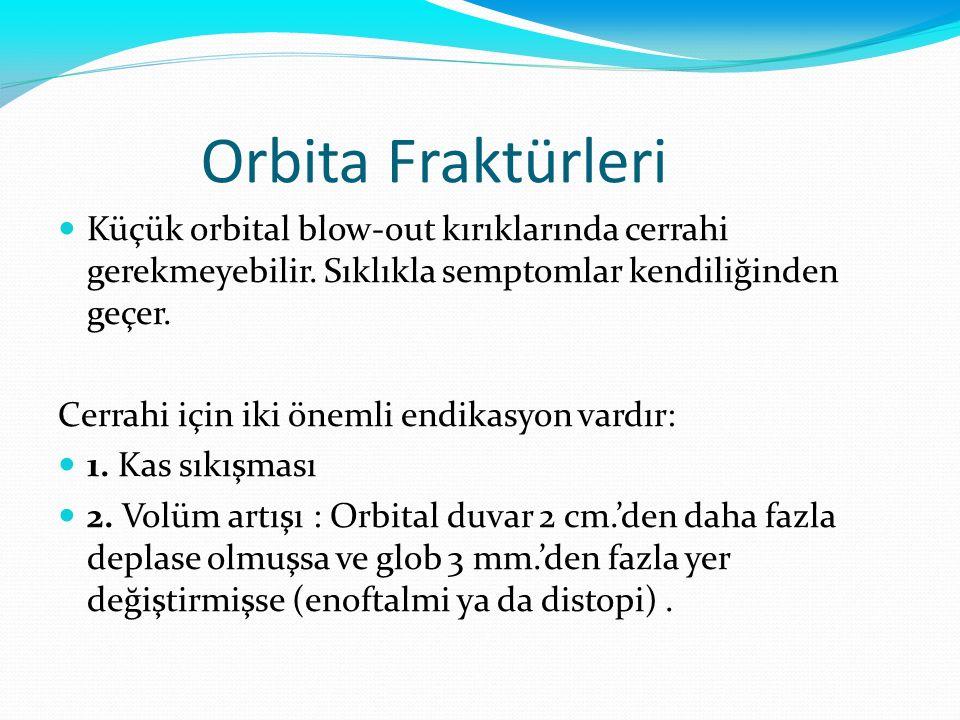 Orbita Fraktürleri Küçük orbital blow-out kırıklarında cerrahi gerekmeyebilir. Sıklıkla semptomlar kendiliğinden geçer.