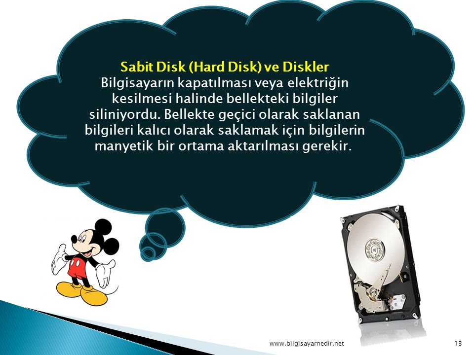 Sabit Disk (Hard Disk) ve Diskler Bilgisayarın kapatılması veya elektriğin kesilmesi halinde bellekteki bilgiler siliniyordu. Bellekte geçici olarak saklanan bilgileri kalıcı olarak saklamak için bilgilerin manyetik bir ortama aktarılması gerekir.
