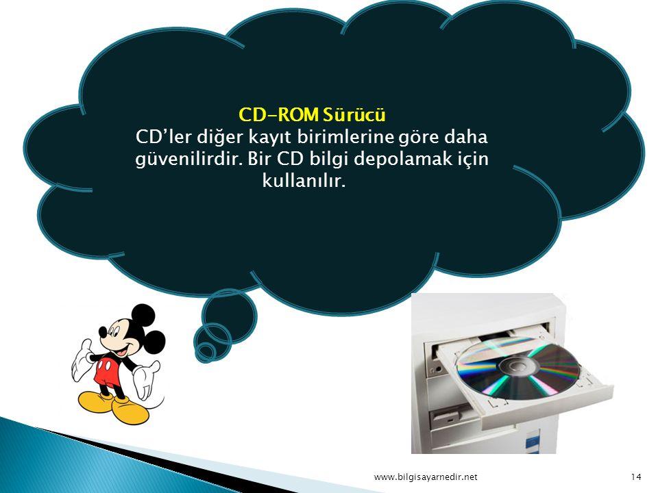 CD-ROM Sürücü CD'ler diğer kayıt birimlerine göre daha güvenilirdir