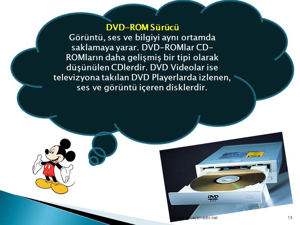 DVD-ROM Sürücü Görüntü, ses ve bilgiyi aynı ortamda saklamaya yarar
