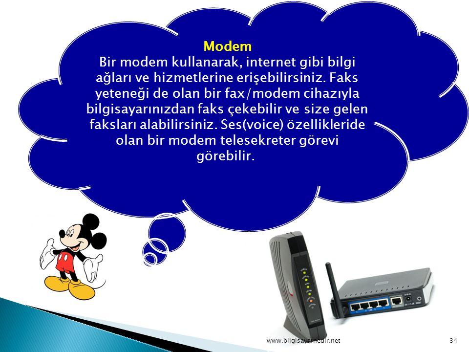 Modem Bir modem kullanarak, internet gibi bilgi ağları ve hizmetlerine erişebilirsiniz. Faks yeteneği de olan bir fax/modem cihazıyla bilgisayarınızdan faks çekebilir ve size gelen faksları alabilirsiniz. Ses(voice) özellikleride olan bir modem telesekreter görevi görebilir.