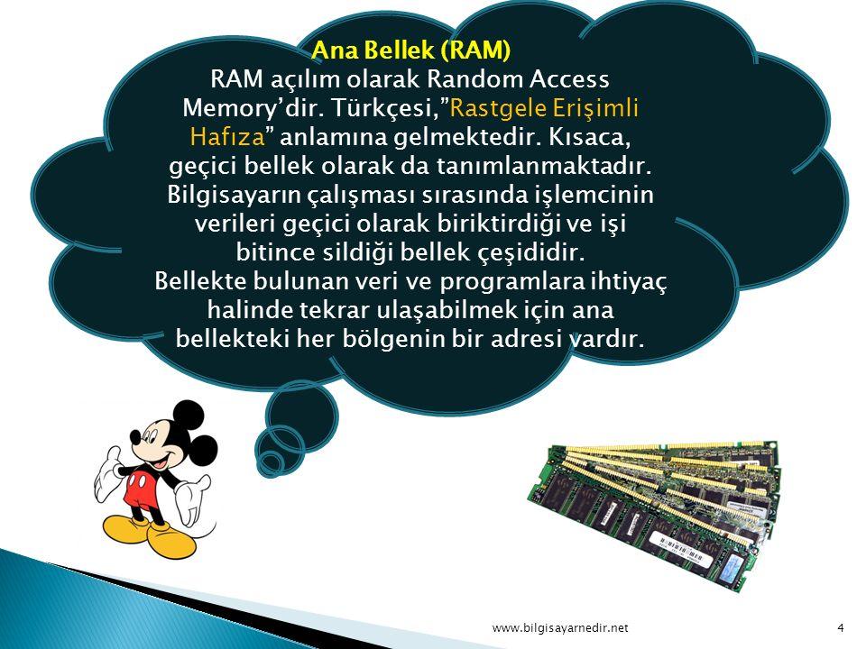 Ana Bellek (RAM) RAM açılım olarak Random Access Memory'dir