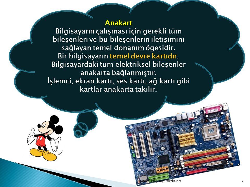 Anakart Bilgisayarın çalışması için gerekli tüm bileşenleri ve bu bileşenlerin iletişimini sağlayan temel donanım ögesidir. Bir bilgisayarın temel devre kartıdır. Bilgisayardaki tüm elektriksel bileşenler anakarta bağlanmıştır. İşlemci, ekran kartı, ses kartı, ağ kartı gibi kartlar anakarta takılır.