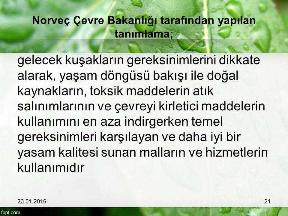 Norveç Çevre Bakanlığı tarafından yapılan tanımlama;