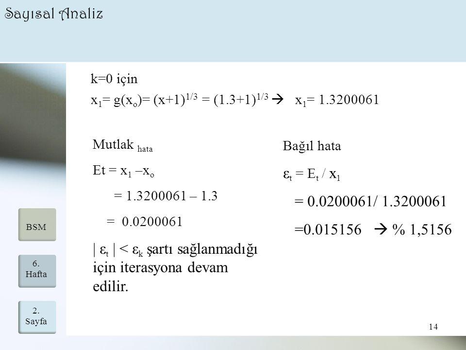 | εt | < εk şartı sağlanmadığı için iterasyona devam edilir.