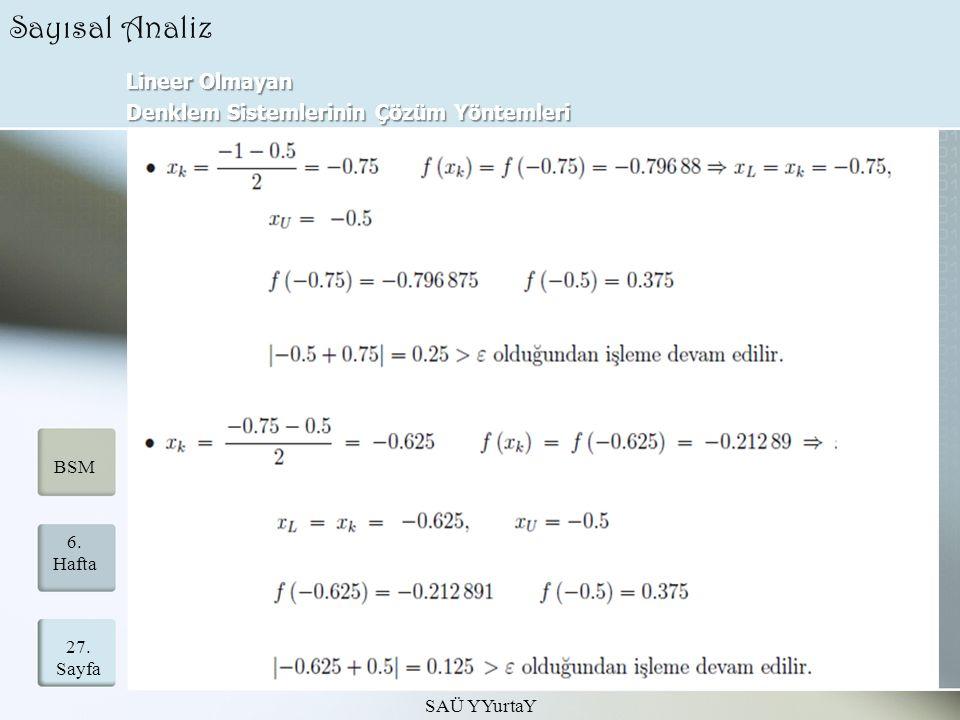 Sayısal Analiz Lineer Olmayan Denklem Sistemlerinin Çözüm Yöntemleri