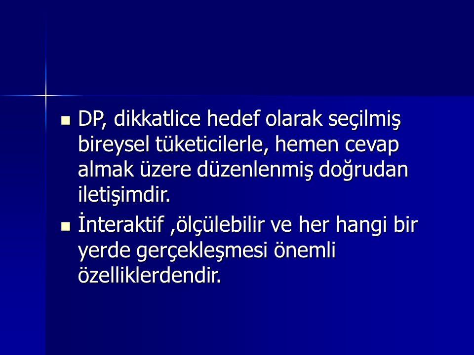 DP, dikkatlice hedef olarak seçilmiş bireysel tüketicilerle, hemen cevap almak üzere düzenlenmiş doğrudan iletişimdir.