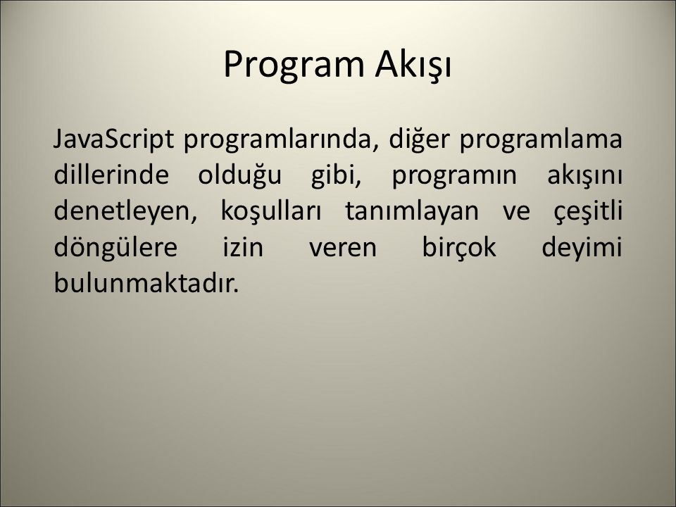 Program Akışı