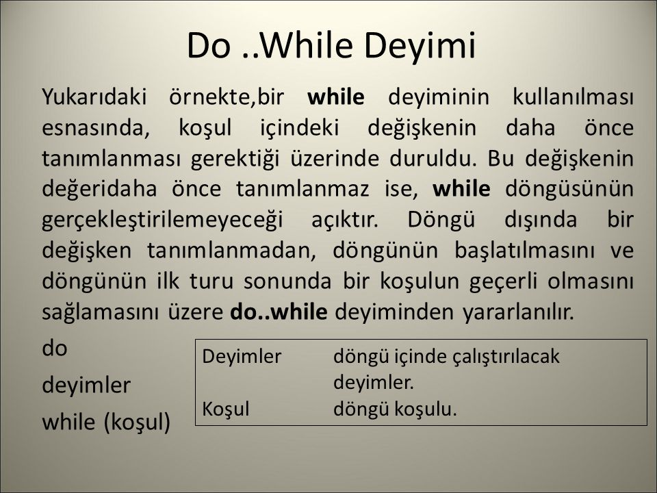 Do ..While Deyimi