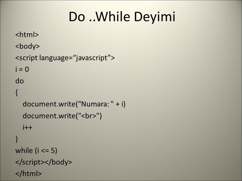 Do ..While Deyimi