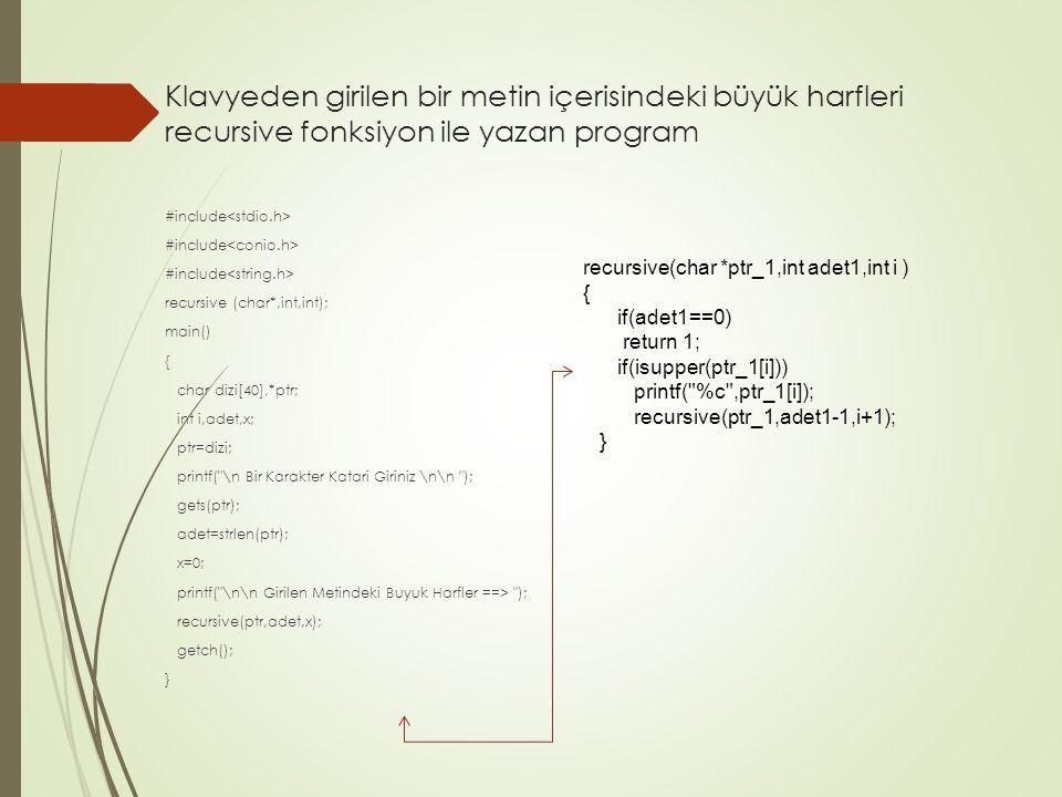 Klavyeden girilen bir metin içerisindeki büyük harfleri recursive fonksiyon ile yazan program