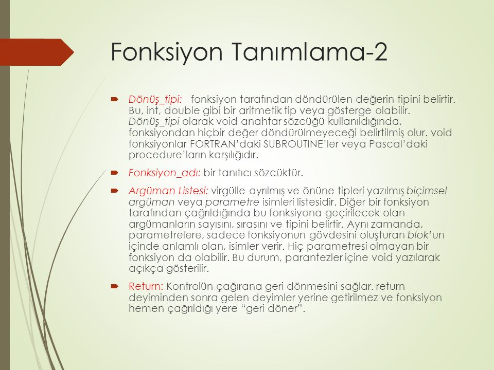 Fonksiyon Tanımlama-2