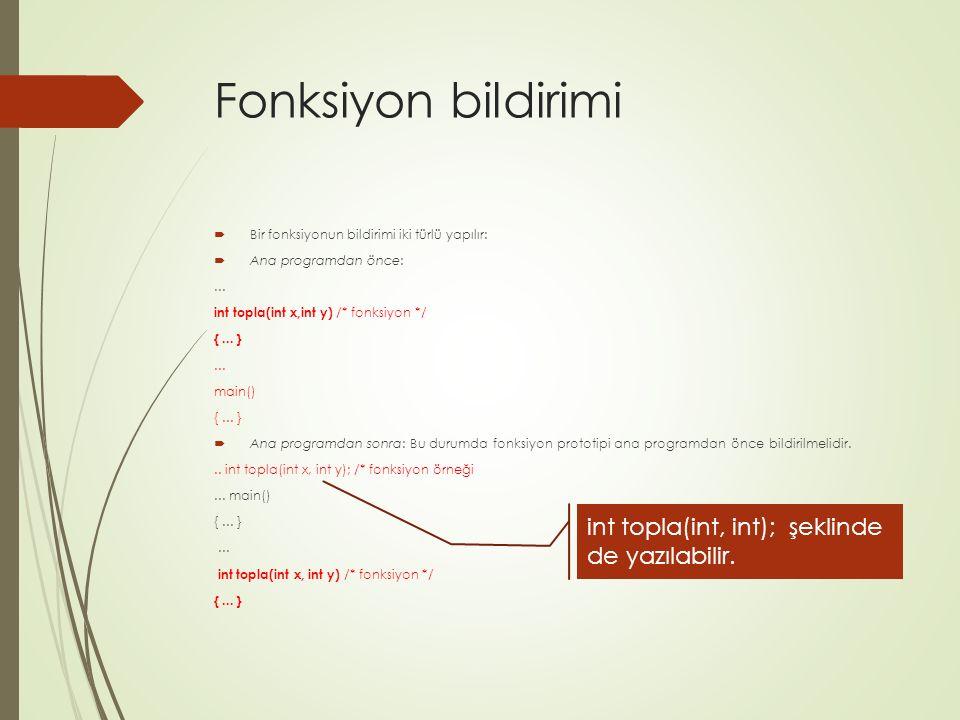 Fonksiyon bildirimi int topla(int, int); şeklinde de yazılabilir.