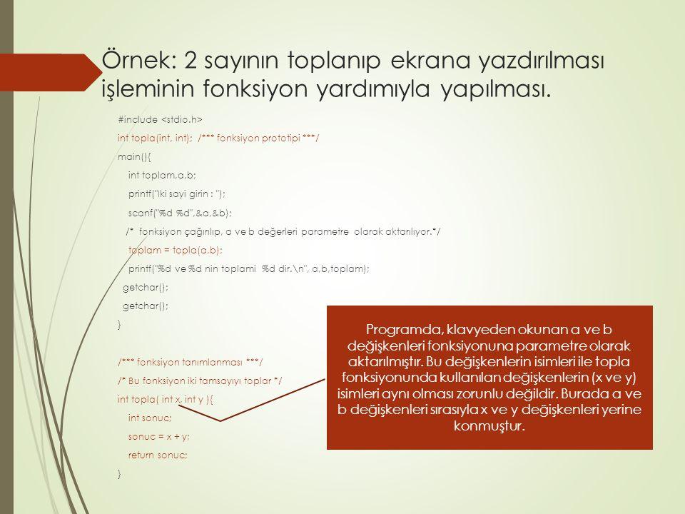 Örnek: 2 sayının toplanıp ekrana yazdırılması işleminin fonksiyon yardımıyla yapılması.