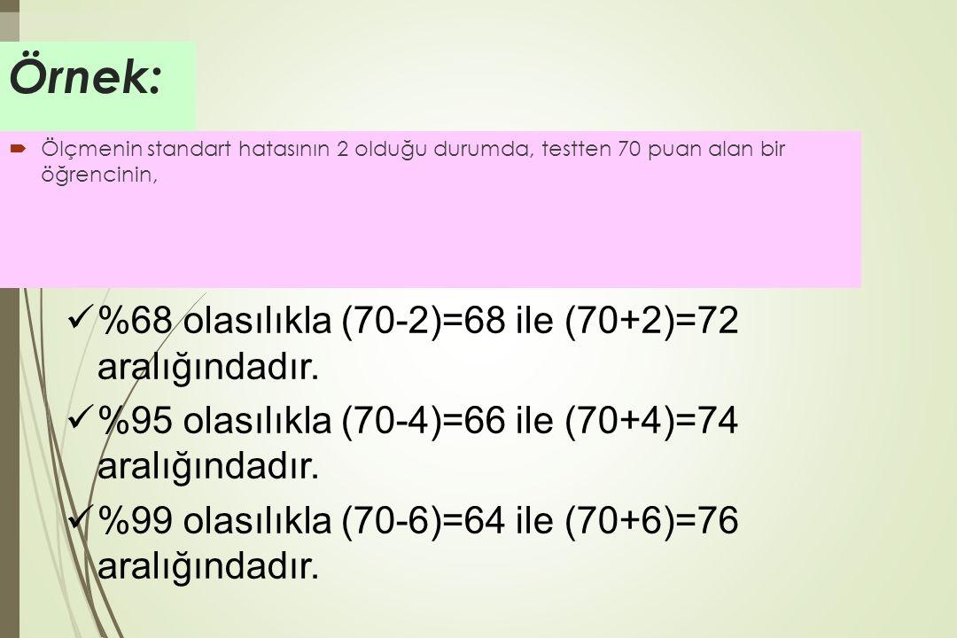 Örnek: %68 olasılıkla (70-2)=68 ile (70+2)=72 aralığındadır.