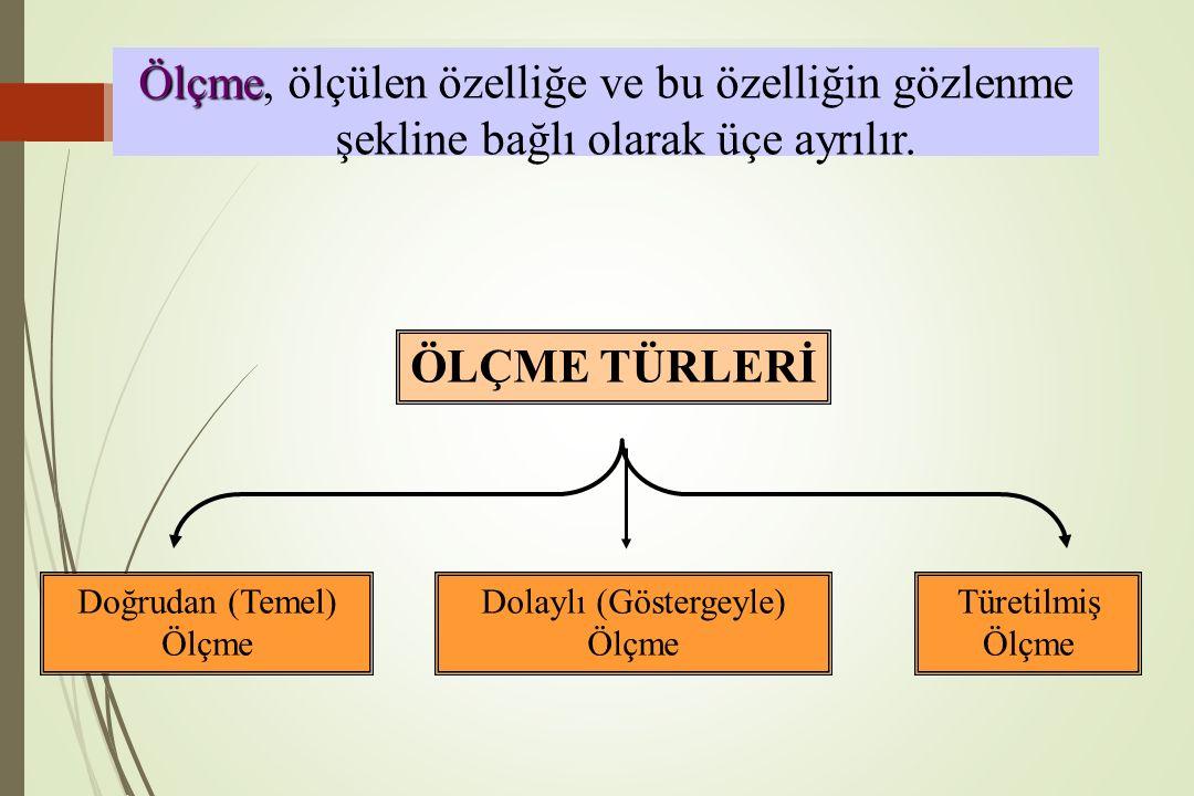 Ölçme, ölçülen özelliğe ve bu özelliğin gözlenme şekline bağlı olarak üçe ayrılır.