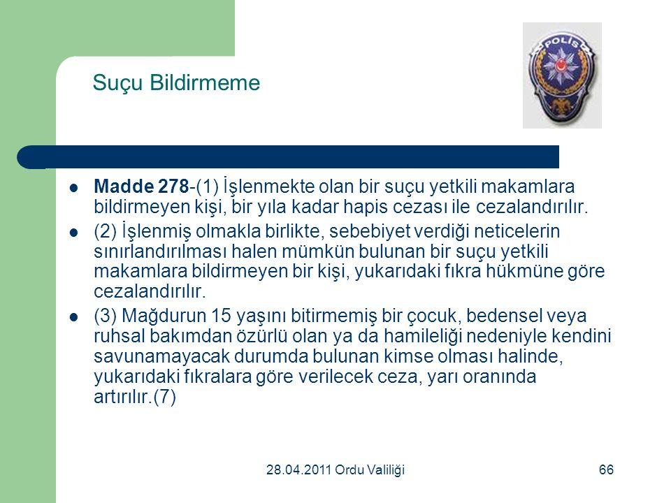 Suçu Bildirmeme Madde 278-(1) İşlenmekte olan bir suçu yetkili makamlara bildirmeyen kişi, bir yıla kadar hapis cezası ile cezalandırılır.