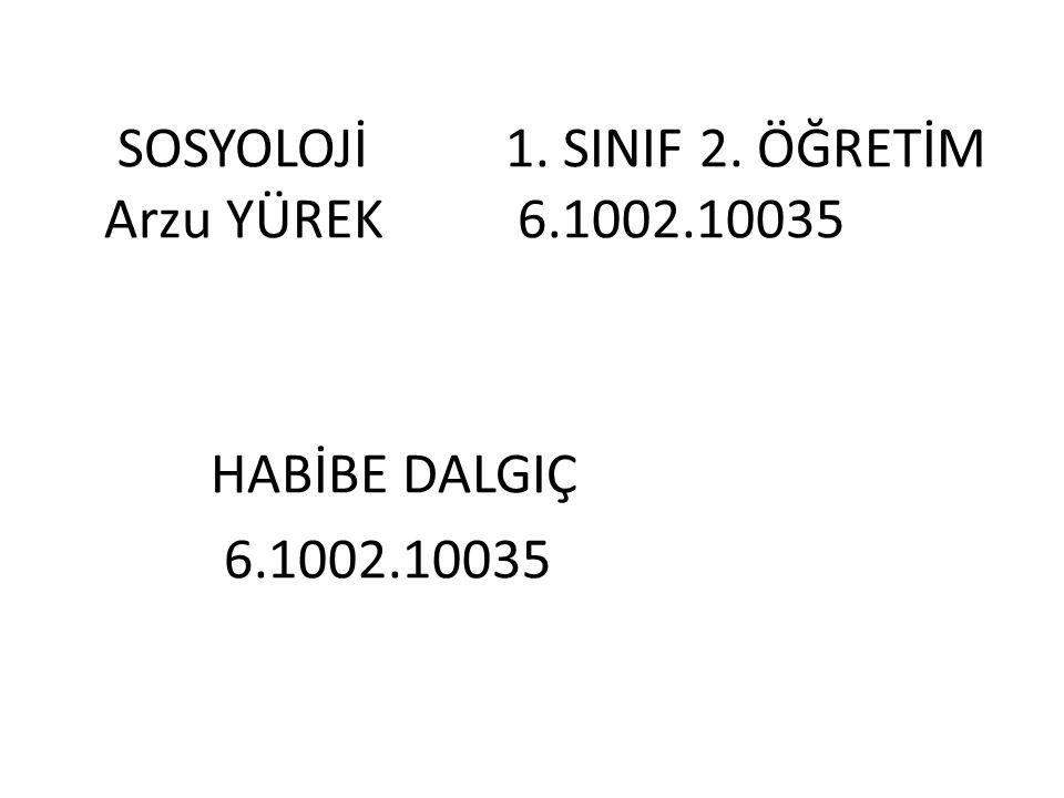 SOSYOLOJİ 1. SINIF 2. ÖĞRETİM Arzu YÜREK 6.1002.10035