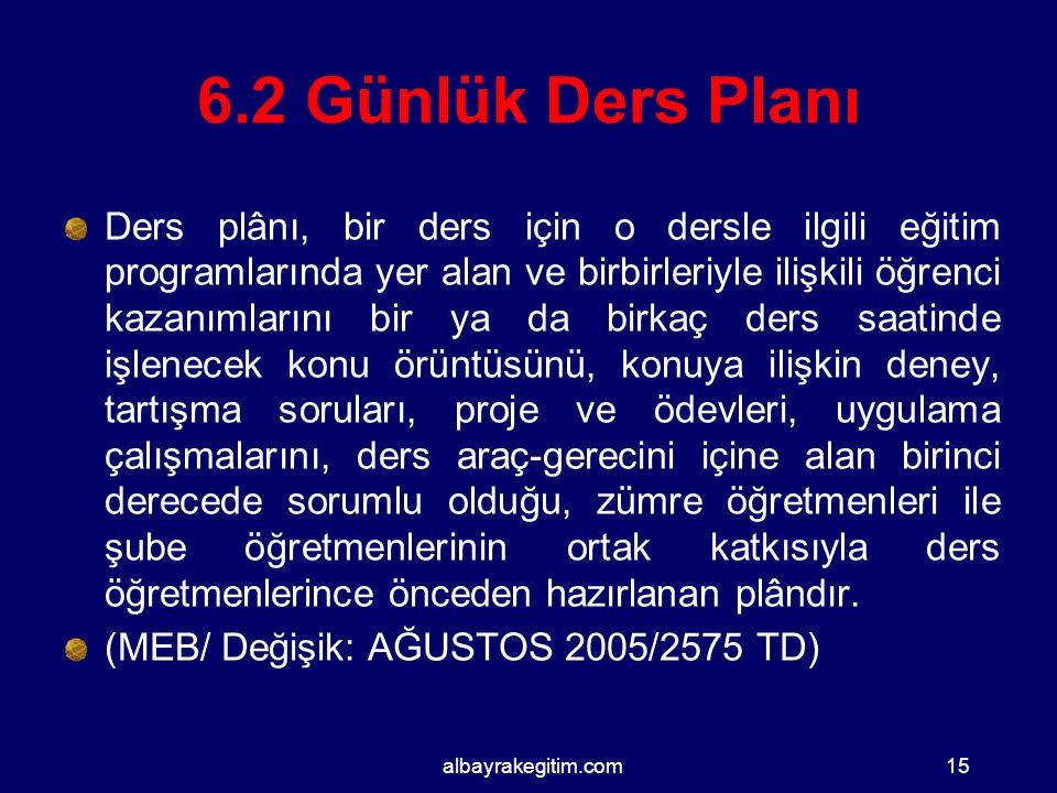 6.2 Günlük Ders Planı