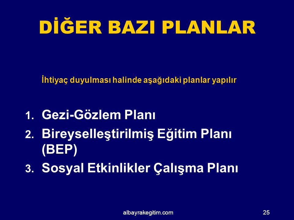 DİĞER BAZI PLANLAR Gezi-Gözlem Planı