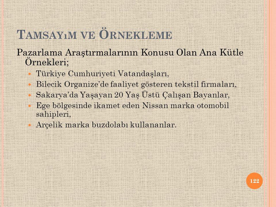 Tamsayım ve Örnekleme Pazarlama Araştırmalarının Konusu Olan Ana Kütle Örnekleri; Türkiye Cumhuriyeti Vatandaşları,