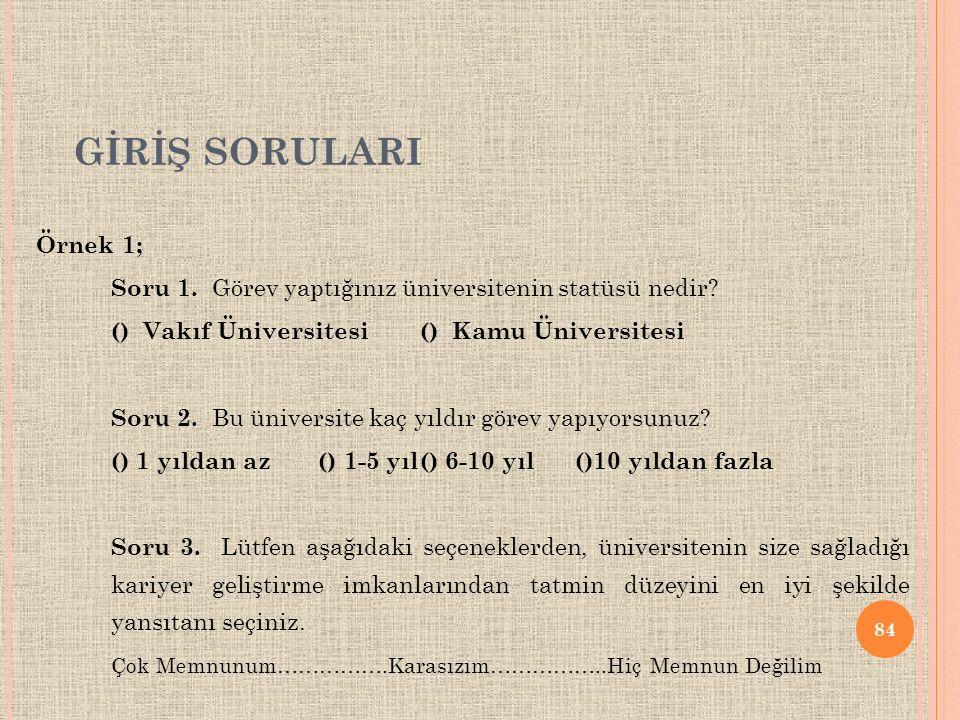 GİRİŞ SORULARI Örnek 1; Soru 1. Görev yaptığınız üniversitenin statüsü nedir () Vakıf Üniversitesi () Kamu Üniversitesi.